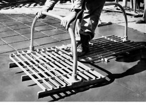 Bowman's platform tools could imprint several pattern units at one time. The stamps were cast aluminum and were heavy.