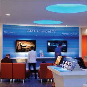 "Flexibility was key in the prototype strategy for AT&T's ""experience stores."" A core group of fixtures—compact and linear fluorescent, LED, and metal halide—provide a variety of light while still meeting the variables energy code requirements throughout the U.S."
