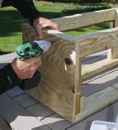Figure 3. A plywood face stiffens the planter's frame and provides nailing for finishes (left). The author leaves out sections of plywood to fit the planters around the newels (right).