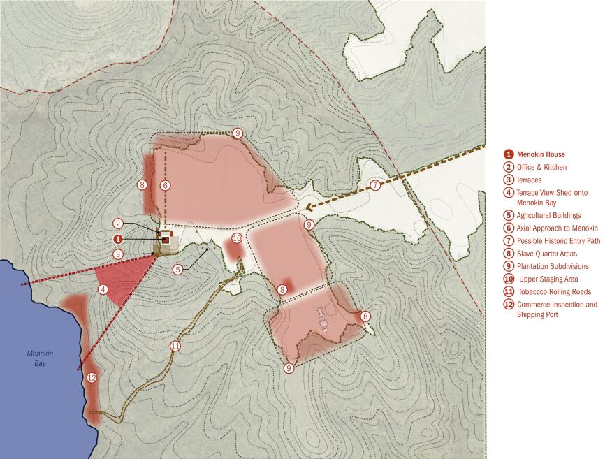 Site plan shows main house, office, and kitchen locations in relationship to likely locations of river harbor, tobacco rolling roads, slave quarters, and agricultural fields.