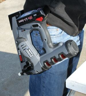 A reversible belt hook keeps the gun within reach at all times.