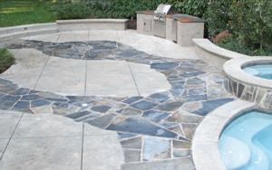 Incorporating natural stone  into projects enhances the look of concrete.