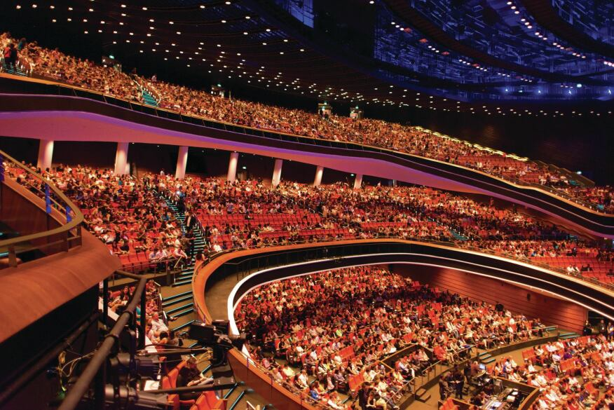 The 5,000-seat theater is the main venue for the Star Performing Arts Centre. It is used for concerts and other entertainment during the week, and doubles as the sanctuary for the New Creation Church.