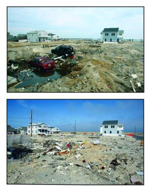 Before (top) and after (bottom) images, taken by Tim Larsen, Chief of Photography for the New Jersey Governor's Office, show an Ortley Beach, N.J., scene in the days after Sandy and six months later. Recovery in the hard-hit neighborhood has been hard and slow.