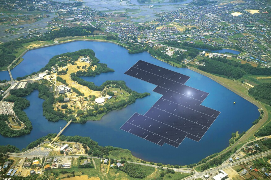 Rendering of solar panels on the Yamakura Dam reservoir in Japan via Kyocera