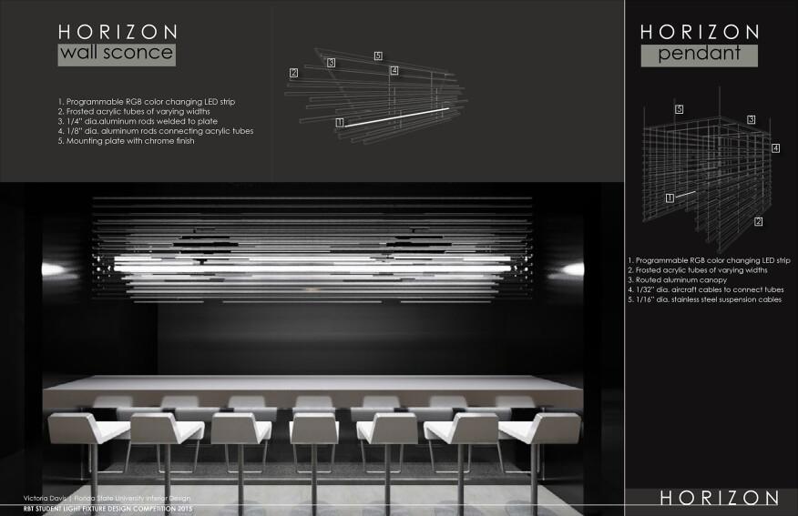 "Victoria Davis' luminaire design titled ""Horizon."""
