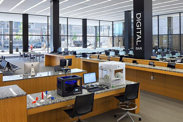 The Digital Commons, designed by the Freelon Group, in the MLK Library.