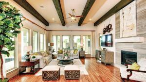 The interior focus is on living/entertaining space and luxe finishes.