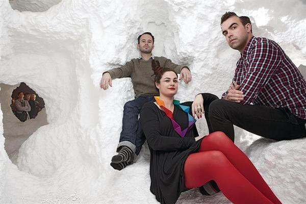 Storefront for Art and Architecture director Eva Franch i Gilabert, with Snarkitecture's Daniel Arsham (left) and Alex Mustonen, at a 2011 Snarkitecture exhibit at Storefront.