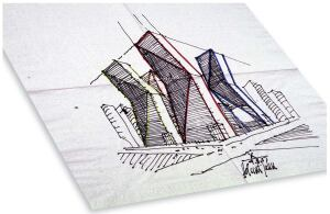 OBJECT napkin sketch  ARTIST Helmut Jahn  PRICE TBD at benefit auction on Sept. 14  SOURCE www.wafonline.org