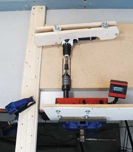 "Above: Manufacturers test to different standards, so in order to make apples-to-apples comparisons between brands, the author torque-tested the drill/drivers with an electronic torque tester. The results are listed under ""PTI Torque"" in the spec boxes starting on page 22. Right: To test runtime, the author drove screws and drilled holes into OSB test planks with the drill/drivers (top) and drove lags with the impact drivers (center). He tested speed of application by timing how long the impact drivers took to drive lags into test planks (bottom)."