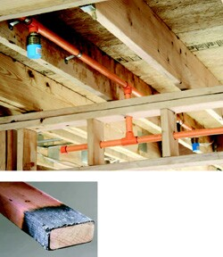 Water lines in Tyco Fire & Building Products sprinkler systems are orange for easy identification. Dricon from Arch Wood Protection (left) also can be color-treated for the same reason.
