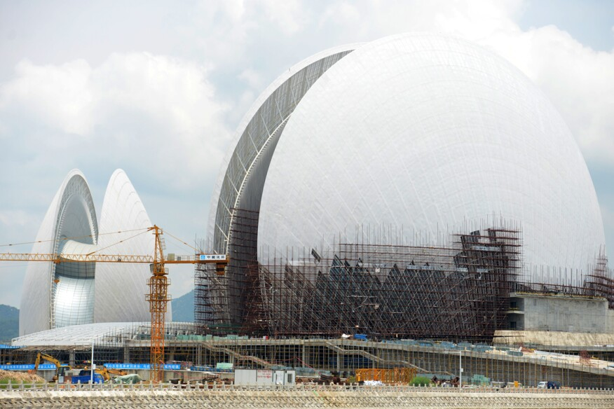 The Zhuhai Opera House is under construction on Yeli Island in Zhuhai city, south China's Guangdong province.
