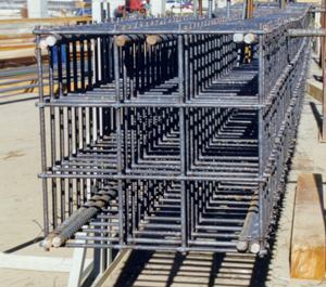 A Welded Reinforcement Grid cage awaits delivery to a jobsite.