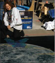 Taylor-Clark uses microtoppings similar to how an artist would paint on canvas. They provide the color and resistance to wear (with sealer) that allow her to do mural work on floor surfaces.