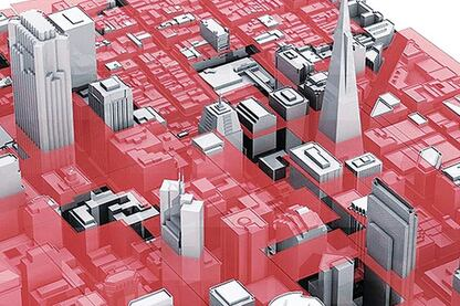 The model allowed the architects to create a series of visualizations that can help them consider the limitations on certain projects. This diagram shows the city's current height limits, and highlights both the number of buildings built before current limits were passed and the potential for other sites to increase vertical density.