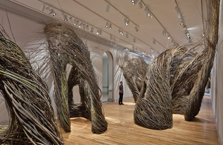 "Patrick Dougherty's Shindig (2015), part of the Renwick Gallery's ""Wonder"" exhibit, is a series of structures made from woven willow saplings. The tracklighting in the gallery aims to mimic sunlight."