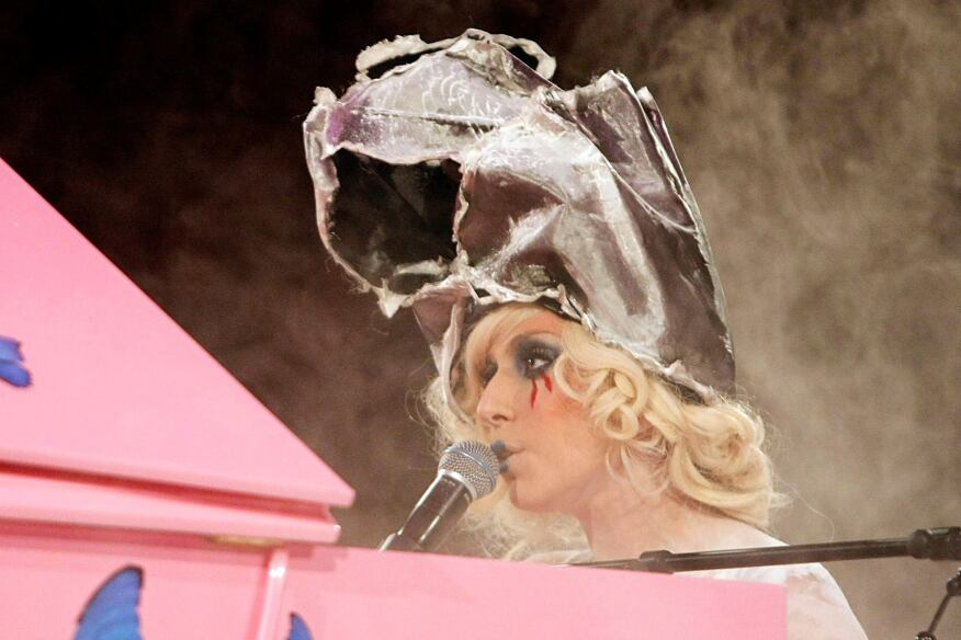 Lady Gaga wears a hat designed by Frank Gehry at a performance on Nov. 14, 2009.