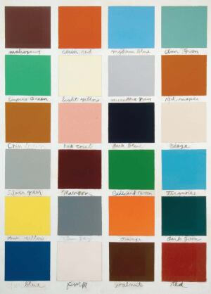 Everyday colors: Red Devil- brand paint chips, collected by artist Jim Dine as a youth working in his father's hardware store, inspired The Studio: Red Devil Color Chart No. 1, 1963