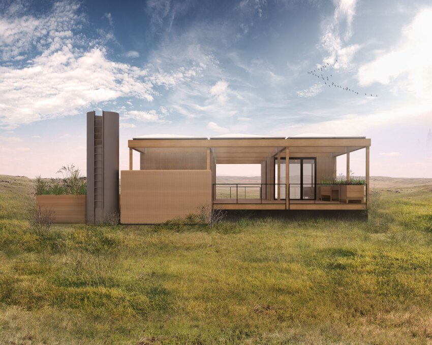 A modular home powered by rain and sunshine ecobuilding for Prefab homes austin