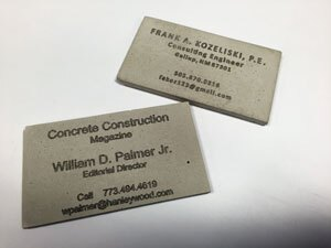 Frank Kozeliski's concrete business cards.