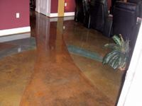 Floors throughout the house were acid stained and featured custom designs.