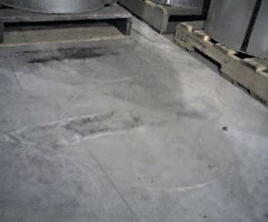 Efflorescence is the deposit of soluble salts after saturation and evaporation. This can occur as concrete slabs dry, especially if moisture is trapped beneath objects placed on the floor. A solution of weak acid effectively removes efflorescence.