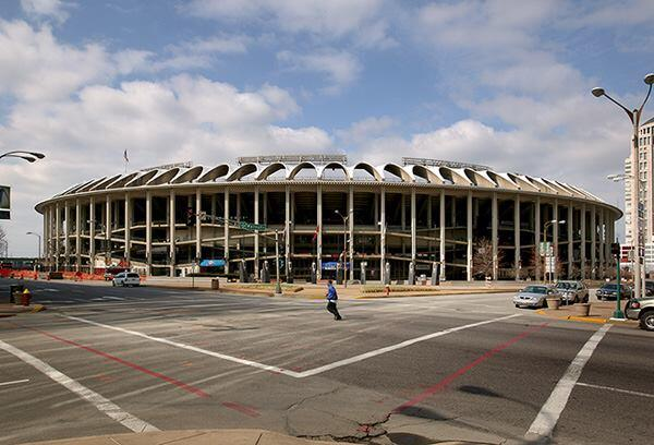 Busch Memorial Stadium, St. Louis, by Sverdrup & Parcel with Edward Durrell Stone. The second St. Louis stadium named after Anheuser-Busch president August Busch, Jr., met its demise via wrecking ball in 2005, and was replaced by the current Busch Stadium, designed by Populous, formerly HOK Sport.