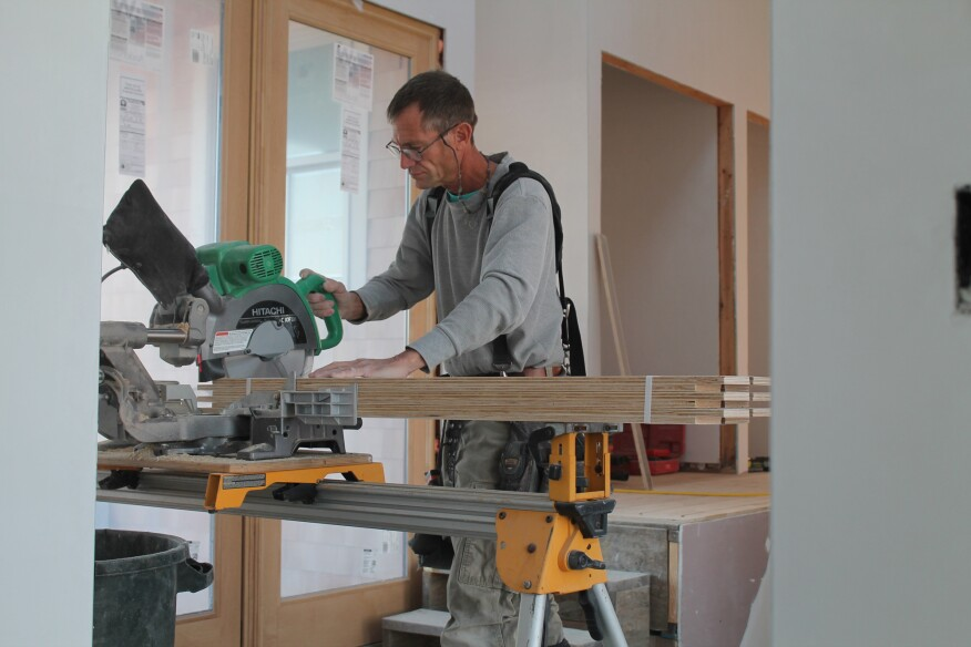Cutting the panels to length is easy. Just set a whole bundle on the chop saw and cut six pieces at once to the proper length.