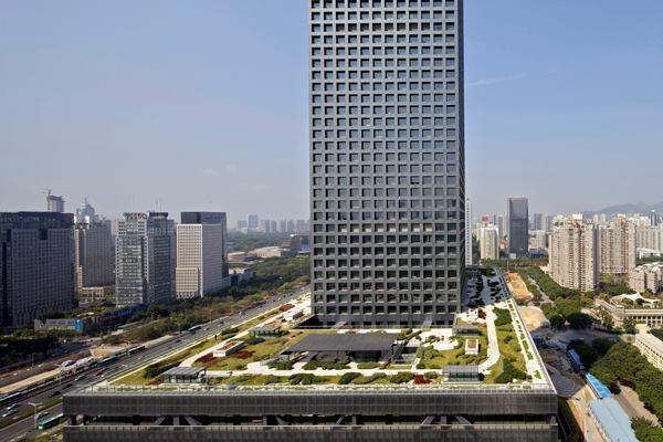 The raised podium of the Shenzhen Stock Exchange features a landscaped, accessible roof.