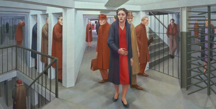 Architect Vincent Chang, a partner at Grimshaw, one of the design firms involved in the overall project, notes that George Tooker's painting The Subway served as a reference point for the type of space the architects did not want to replicate as they developed the new transportation hub.