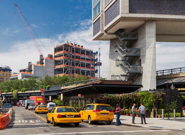 The new Whitney is sited just west of the southern terminus of the High Line, seen here passing beneath The Standard Hotel.
