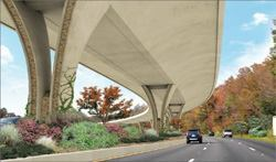 This rendering of U.S. 280 elevated roadway, Birmingham, Ala., shows the sculptural design planned for the project. Single open piers in the median are part of the theme selcted by the community.