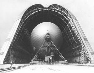 The short-lived dirigible USS Macon and its home, Hangar One, in an undated photo.