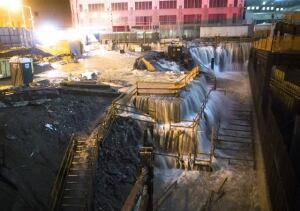 Water floods the construction site at the World Trade Center, New York.