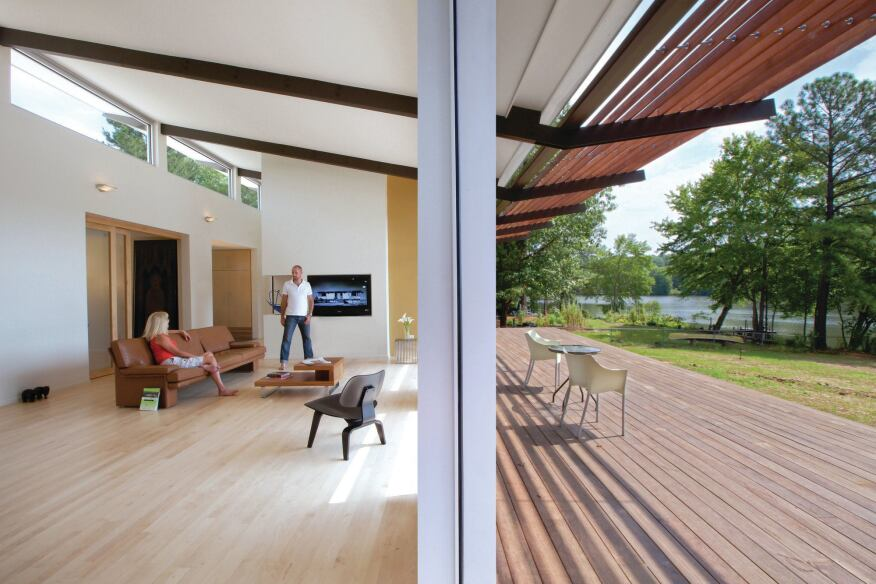The low-slung, wood-and-glass Smart-Stell Residence in Durham, N.C.