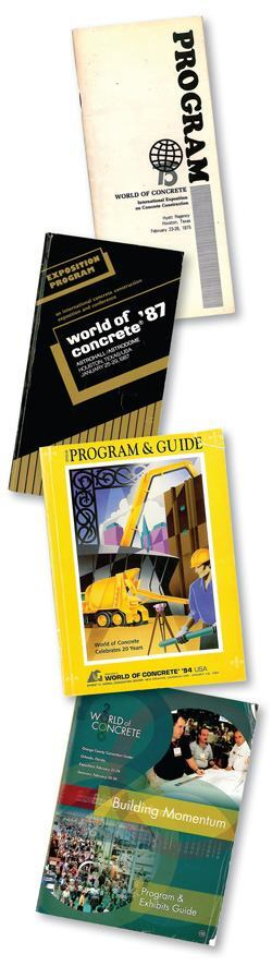 A sample of World of Concrete programs ranging from 1975 to 2000.