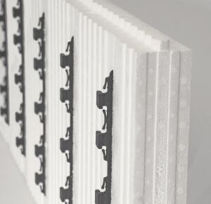 Arxx.    The ICFs manufacturer now offers reFIT, a basement finishing system that provides for a finished wall assembly R-value of 13.9. The expanded polystyrene panels interlock vertically and install easily using metal base track, corner panel connectors, and wall clips and shims; embedded fastening strips allow for attachment of drywall. The panels are resistant to mold, mildew, and rot, says the maker. 800.293.3210. www.refiticf.com.