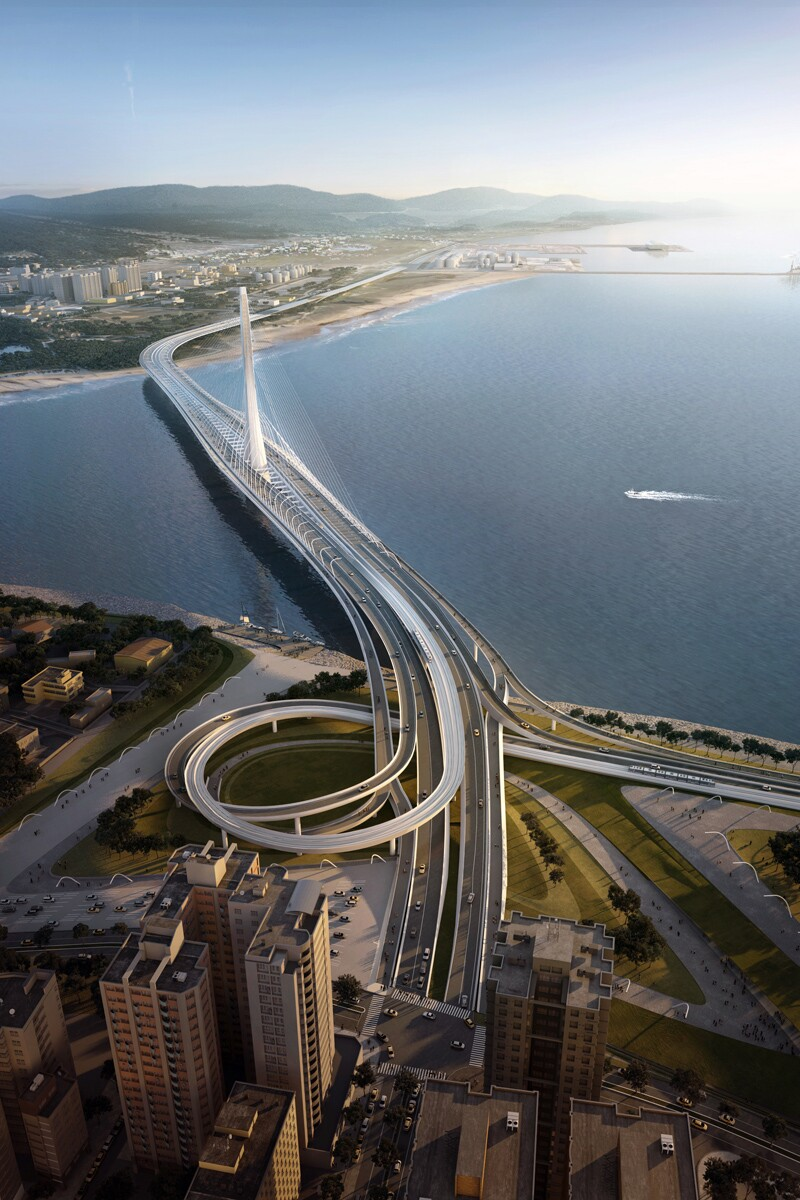 Danjiang Bridge from above, by Zaha Hadid Architects