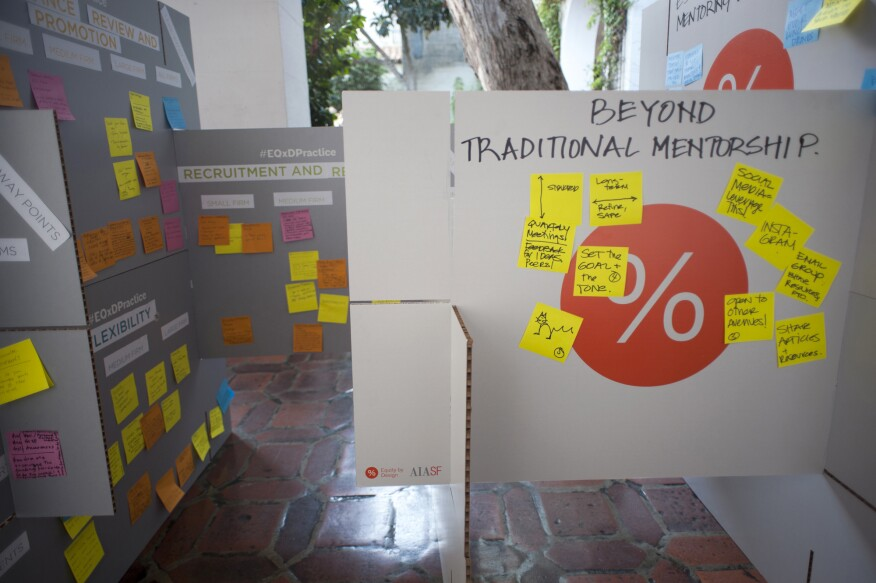 A large-scale house of cards features ideas brainstormed during AIA San Francisco's 2016 Equity by Design symposium to promote equity in architectural practice.