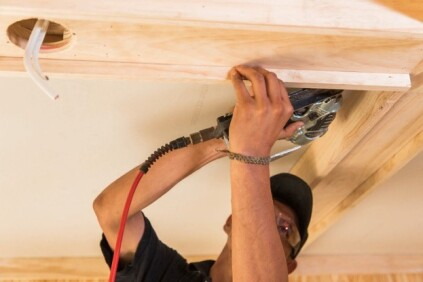 5 – Hang the DrywallInstall additional blocking if necessary to support all edges of the drywall, then measure and cut the drywall to fit each recessed coffer. Use 1/2 in. drywall for 16-inch on-center framing and 5/8 in. drywall for 24 in. framing. (Some codes may also require 5/8 between occupied floors.) Use standard Type W drywall screws that are long enough to penetrate the framing by at least 5/8 inch. (If you left the existing drywall in place you will, of course, need longer screws.) Drive screws every 8 inches along the edges and every 12 inches in the field.