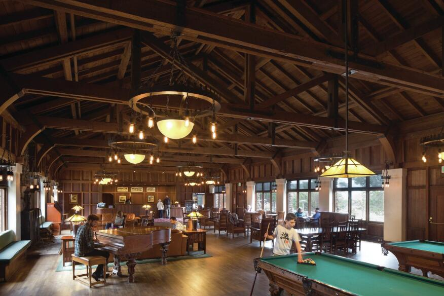 An interior from the Asilomar Conference Grounds in Pacific Grove, Calif. (1913–1929).