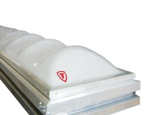 The Firestone SunWave Daylighting System features a double-glazed, acrylic, prismatic layered dome that provides high visible light transmittance with wide light distribution. The system has more than 4,000 tiny prisms per square foot to refract, direct, and diffuse sunlight into thousands of tiny beams, decreasing the need for indoor electrical lighting by up to 70%. It catches up to 20% more light at low angles than standard shapes and transmits light to a work area without producing glare or hot spots or causing UV damage. SunWave is available in six standard sizes: 2' by 2 ', 4' by 4', 4' by 8', 5' by 5', 5' by 6', and 5' by 8'. www.firestonebpco.com