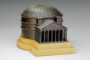 A bronze and marble model of the Pantheon in Rome also serves as a double inkwell, c. 1870.