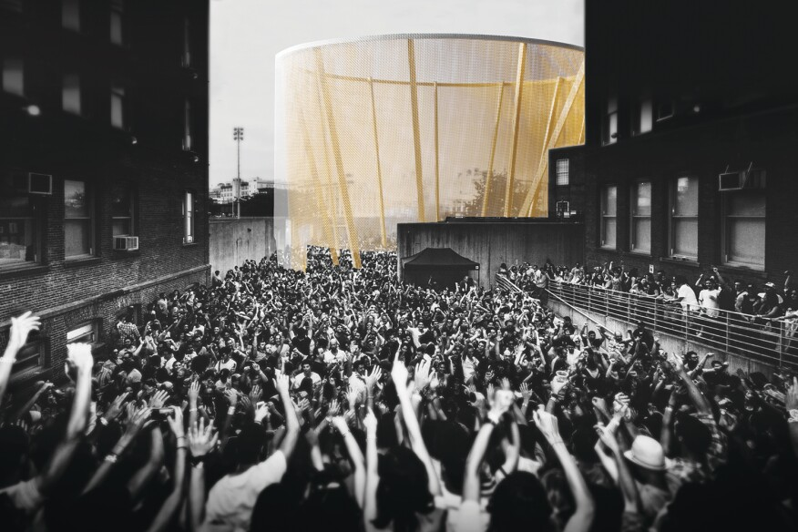 """Recess,"" a finalist proposal for MoMA PS1's Young Architects Program, suspends chain link from a wooden ring to form a transparent drum."