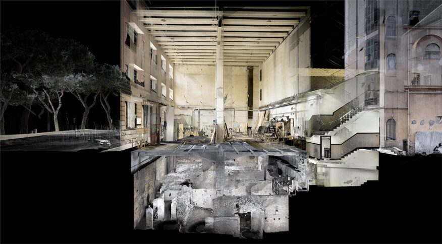 Collaged visualization of Mithras Temples, hidden below modern Rome