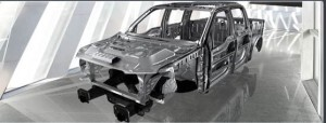 The aluminum alloy used for the structure of the new F-150 body is said to be twice as strong per unit of weight as the bake-hardened steel used in previous models.