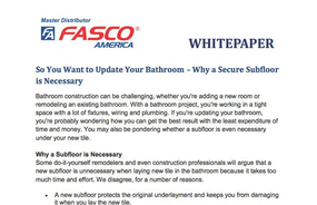 So You Want to Update Your Bathroom – Why a Secure Subfloor is Necessary