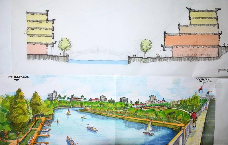 A river walk rendering from the2015 Havana International Charette on Urban Design
