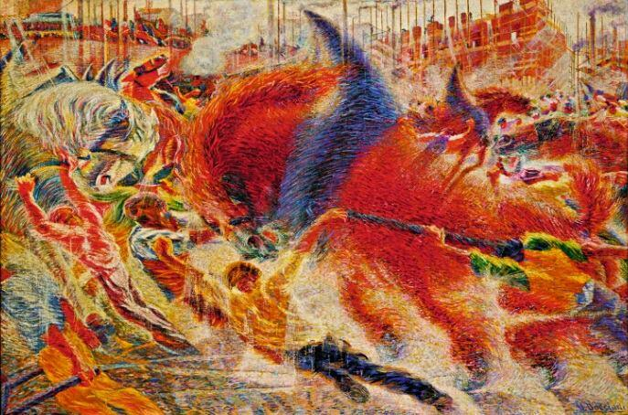 Umberto Boccioni, The City Rises (La città che sale), 1910; Oil on canvas, 199.3 x 301 cm; The Museum of Modern Art, New York, Mrs. Simon Guggenheim Fund, 1951